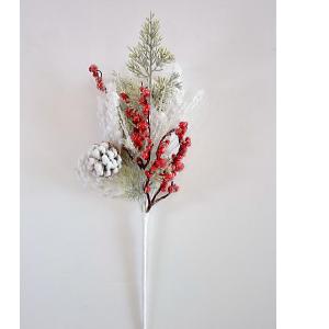 Vara de follaje nevado con moras rojas de 52cm