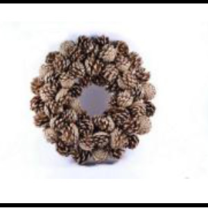 Corona de piñas doradas de 33x8cm