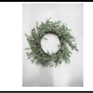 Corona de hojas verdes nevadas de 51x51x8cm
