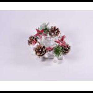 Candelabro de cristal con piñas de 15x15x7cm