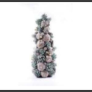 Pino de pinas y follaje nevado de 18x41cm
