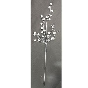 Vara blanca con hojas aperladasde 75cm