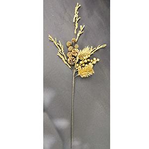 Vara de follaje dorado con moras de 75cm