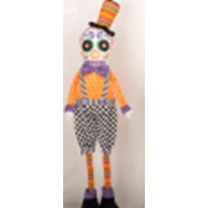 Esqueleto flexible con traje naranja con negro de 69cm