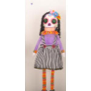 Esqueleto flexible con traje morado y negro de 69cm