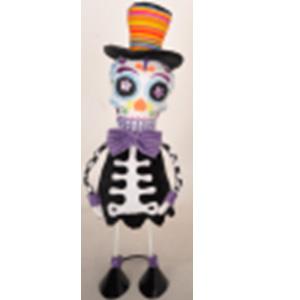 Esqueleto con patas de metal y traje negro de 38cm