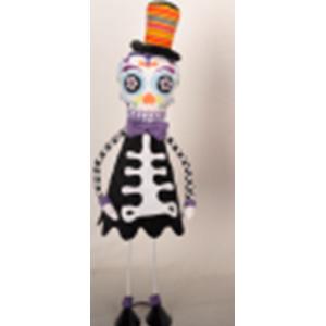 Esqueleto con patas de metal y traje negro de 59cm