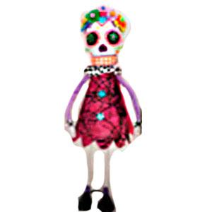 Esqueleto con patas de metal y vestido vino de 59cm