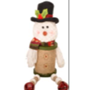 Muñeco de Nieve diseño carrete de hilo con patitas colgantes verde de 46cm
