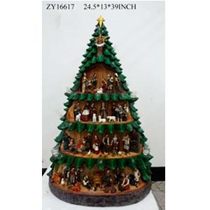 Nacimiento en arbol de resina con aldeanos de 51 piezas de 70x99m