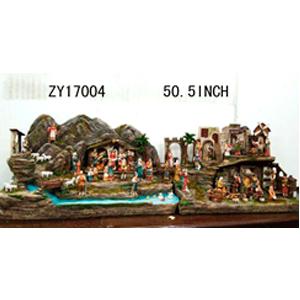 Villa de resina con nacimiento y aldeanos de 80 piezas de35x130m