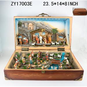 Nacimiento con aldea en maletín con luz de 60x36x21cm
