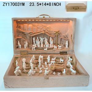 Nacimiento en maletín terminado cantera con luz de 60x36x21cm