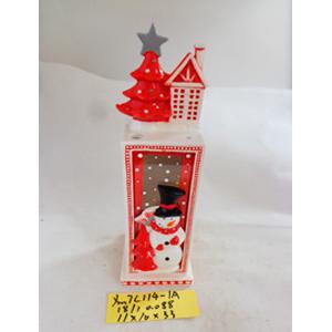 Linterna de cerámica c/muñecp de nieve, blanca con rojo de 11x10x33cm