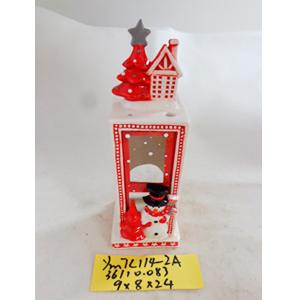 Linterna de cerámica con muñeco de nieve, blanca con rojo de 9x8x24cm