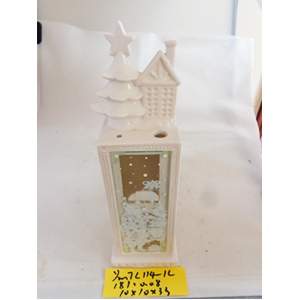 Linterna de cerámica blanca c/pino de 11x10x33cm
