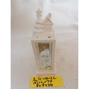 Linterna de cerámica blanca c/pino de 9x8x24cm