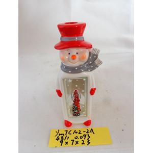 Linterna de cerámica diseño Muñeco de Nieve rojo y blanco de 9x7x23cm