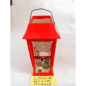 Linterna de cerámica roja navideña de 10x10x26cm