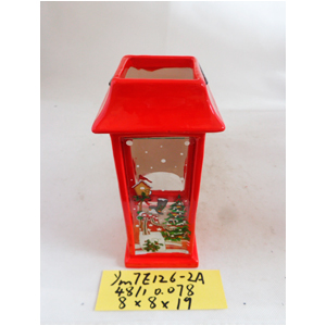 Linterna de cerámica roja navideña de 8x8x19cm