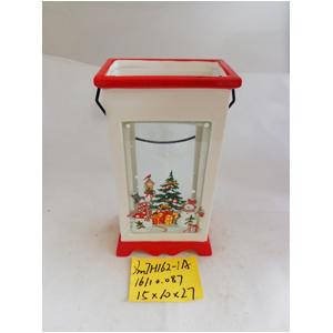 Linterna de cerámica blanca navideña de 15x10x27cm