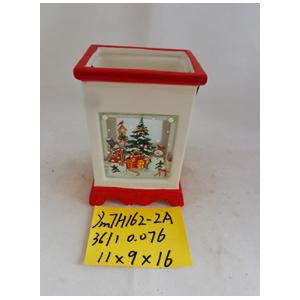 Linterna de cerámica blanca navideña de 11x9x16cm