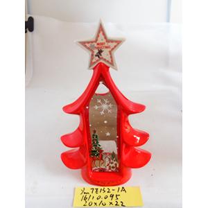 Linterna de cerámica roja diseño árbol c/estrella de 20x10x22cm