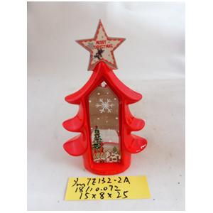 Linterna de cerámica roja diseño árbol c/estrella de 15x8x25cm