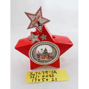 Linterna de cerámica roja con estrella de 17x5x21cm