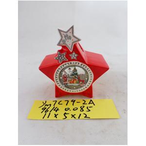 Linterna de cerámica roja con estrella de 11x5x12cm