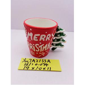 Taza de cerámica roja y asa diseño Árbol de navidad de 14x10x11cm