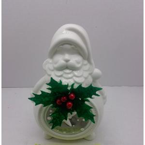 Candelabro diseño Santa blanco con luz led de 15x10x22cm