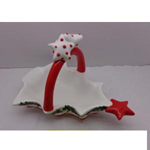 Canasta con asa diseño arbol navideño de 28x23x18cm