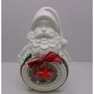 Candelabro blanco diseño Santa y dibujo con luz led (usa bateria lithium) de 19x11x29cm