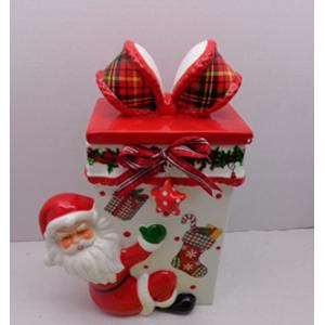 Caja diseño regalo roja con blanco y santa de 19x12x27cm