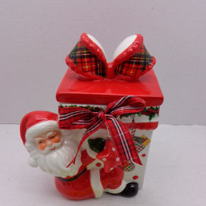 Caja diseño regalo roja con blanco y santa de 14x10x17cm