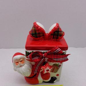 Caja diseño regalo roja con blanco y santa de 11x7x13cm