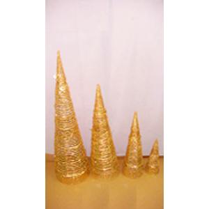 Cono de ratán dorado diamantado de 30cm