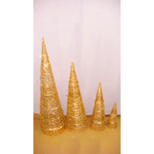 Cono de ratán dorado diamantado de 90cm