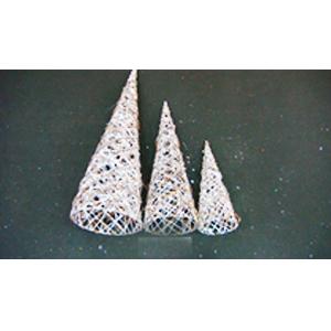 Cono de ratán blanco diamantado de 80cm