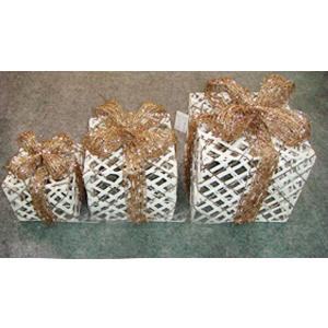 Caja de regalo de ratán con moño dorado de 25cm