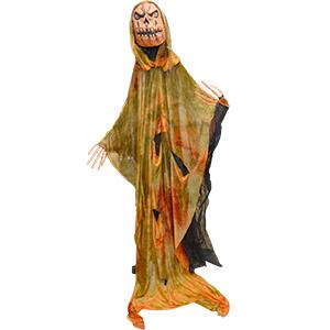 Fantasma parado con cabeza de calabaza con luz led de 160cm
