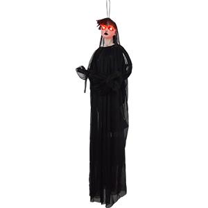 Fantasma colgante con traje negro con luz led de 90cm