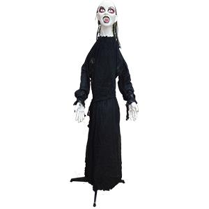 Fantasma de mujer parada con traje negro con luz led de 160x147x160cm