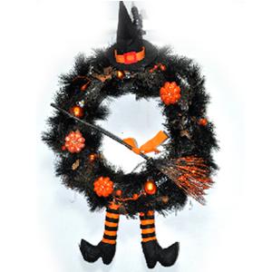 Corona negra con pies colgantes de Halloween de 60x42x11cm