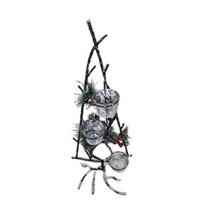 Candelabro de metal diseño Árbol c/ cerezas de 28x20x75cm
