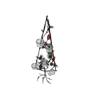 Candelabro de metal diseño Árbol c/ cerezas de 22x21x59cm