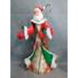 Santa de metal en tonos verdes, rojos y blanco de 34x11x55cm