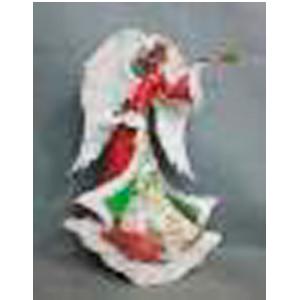 Angel de metal en tonos verdes, rojos y blanco de 37x11x55cm