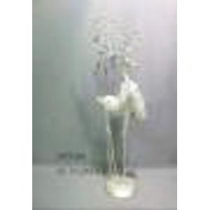 Reno de metal blanco c/perlas en los cuernos de 18x12x54cm